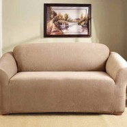 Dark Flax 2 Seater Couch Cover by Surefit
