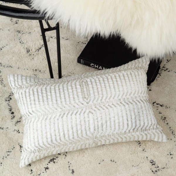 Aragon Silver Decorator Cushion By Private Collection