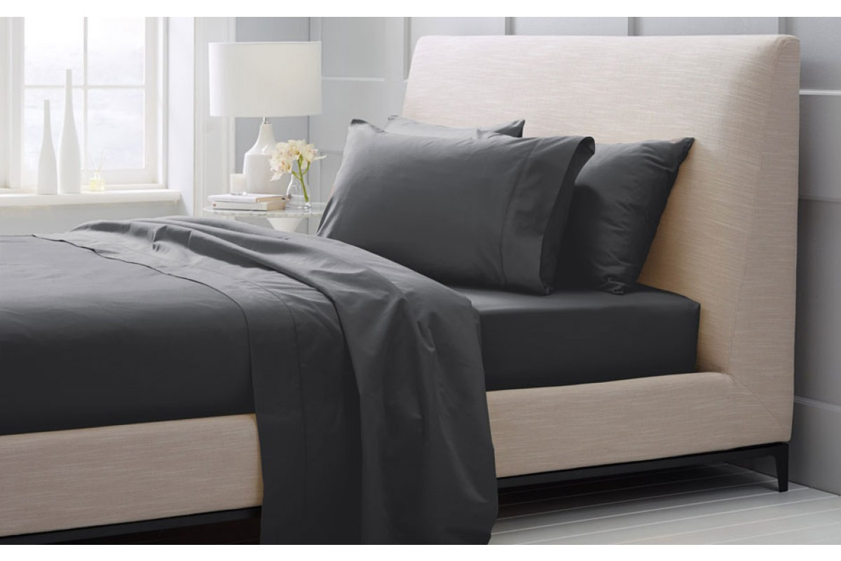 1000 Thread Count Hotel Weight Luxury Cotton Sateen Sheeting Range in Charcoal by Sheridan