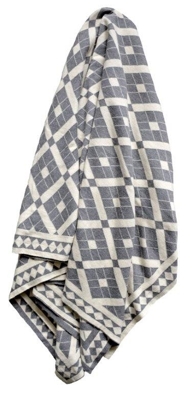 Claremont Reversible Knitted Throw Rug Grey