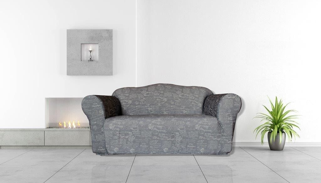 Signature Grey 2 Seater Couch Cover by Surefit