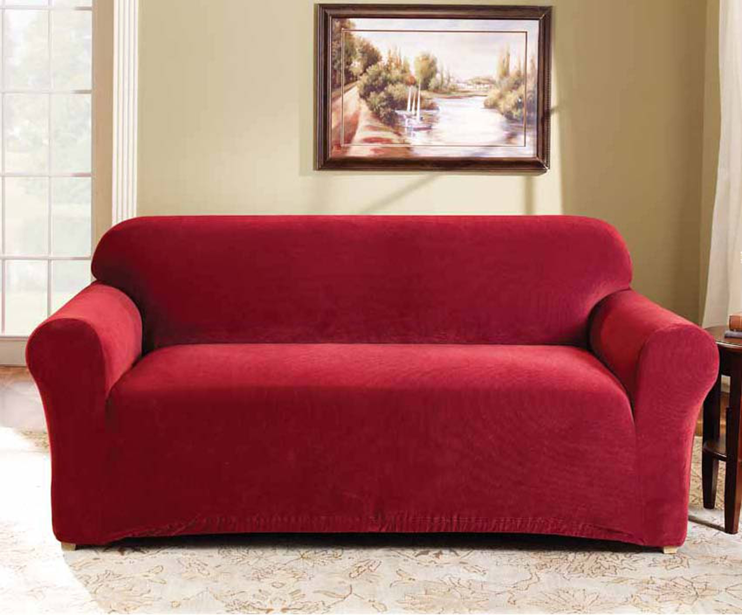 Beau Red 2 Seater Couch Cover By Surefit