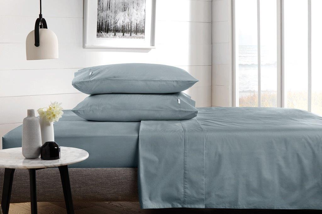 300 Thread Count Classic Percale Sheeting Range in Steel by Sheridan
