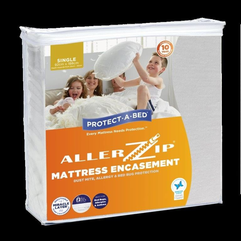 Allerzip Smooth Fully Encased Mattress Protector & Pillow Protector Range by Protect A Bed