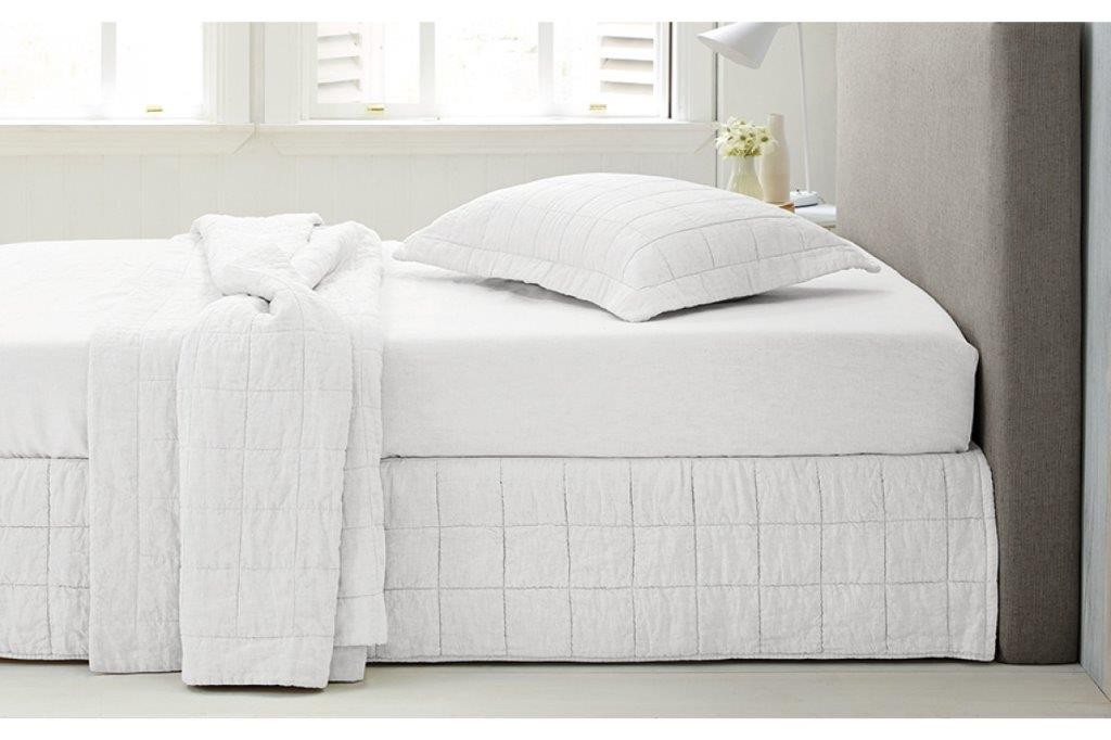 Abbotson White Quilted Bed Skirt by Sheridan