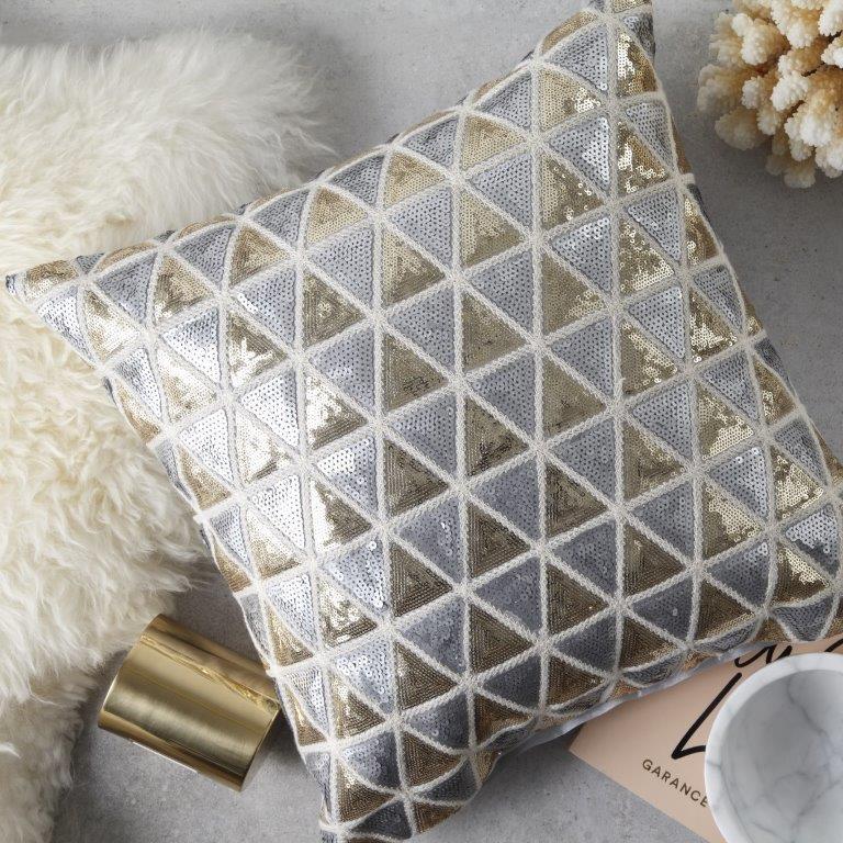 Alexis Champagne Square Cushion by Logan & Mason