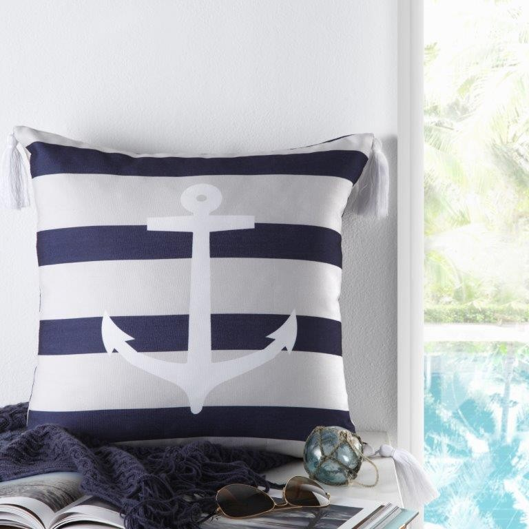 Anchor Navy Square Cushion by Logan & Mason