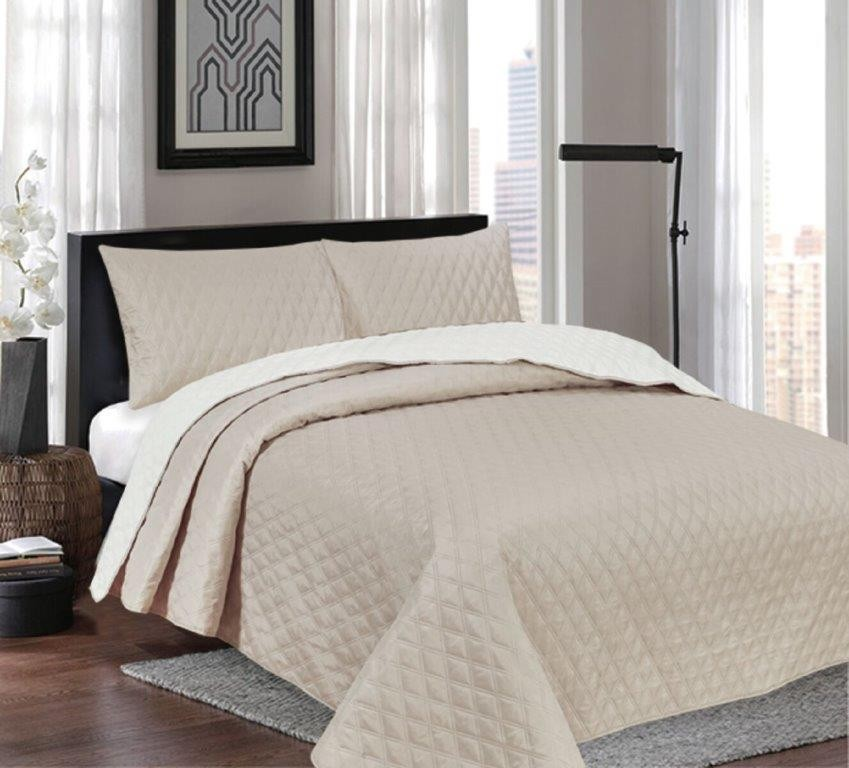 Windsor White/Latte Reversible Queen/King Coverlet Set by Ardor