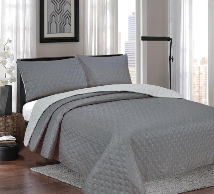 Windsor Charcoal/Silver Reversible Queen/King Coverlet Set by Ardor