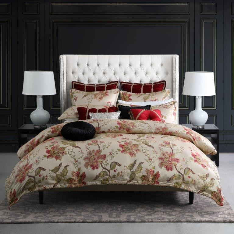 Ayme Red Queen bed Quilt Cover Set by Da Vinci Private Collection