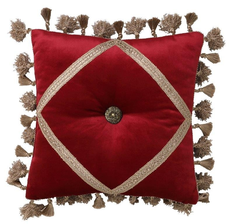 Ayme Red Square Cushion by Da Vinci Private Collection