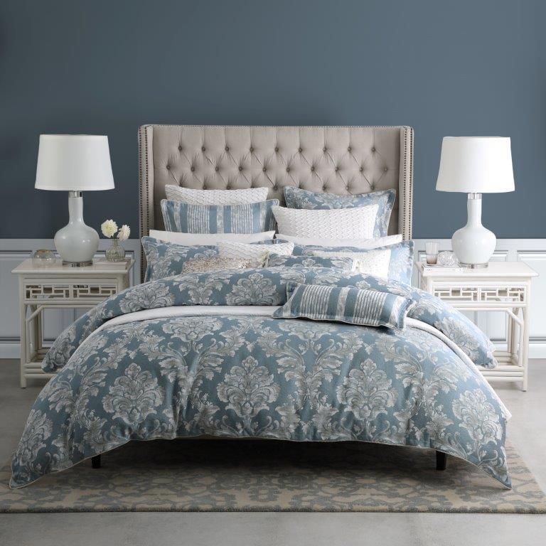 Bellevue Blue Super King bed Quilt Cover Set by Da Vinci Private Collection