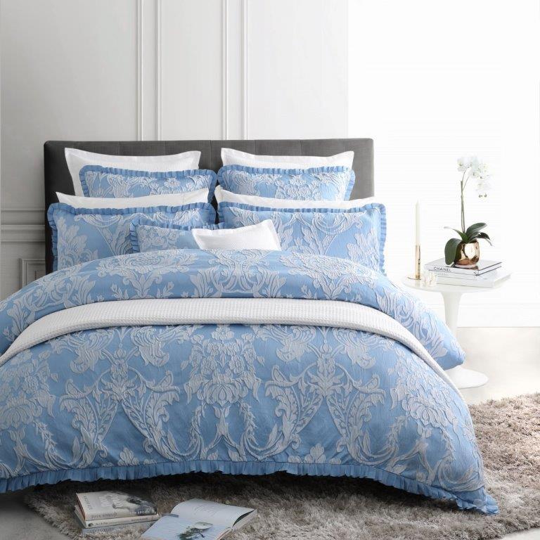 Berenice Blue Super King bed Quilt Cover Set by Logan & Mason (Australian size 270 x 240cm)