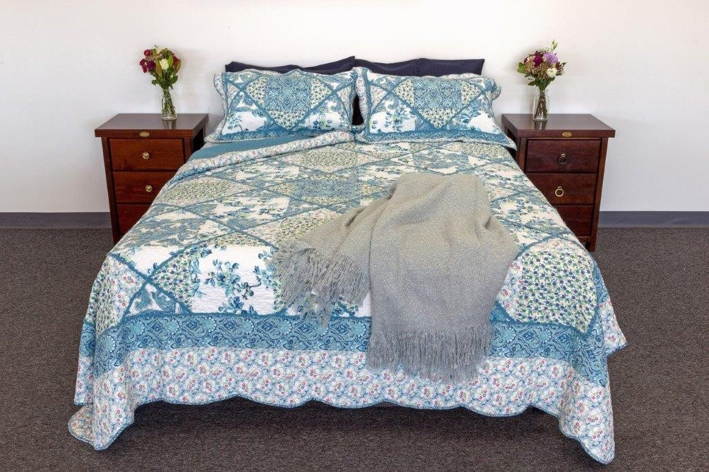 Blue Bouquet Quilted Coverlet