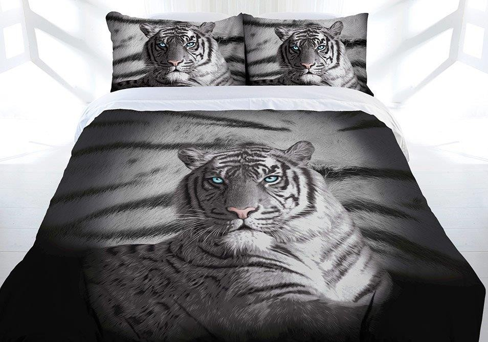Blue Eyes Striped Tiger Quilt Cover Set by Just Home