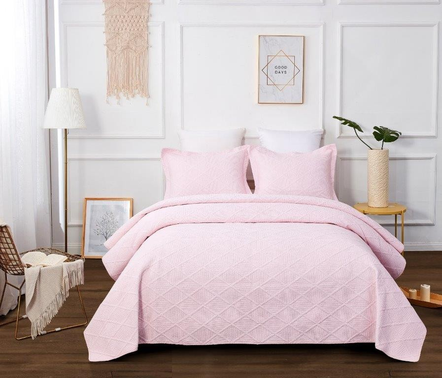 Blush Pink Quilted Coverlet