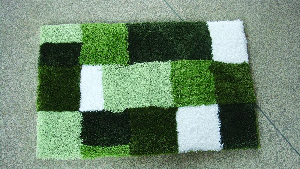 Microfibre Check Green Bathmat Range