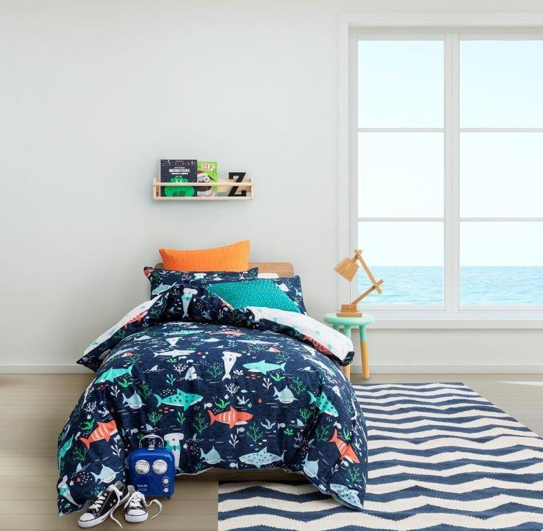 Chomp Chomp Seafoam Single bed Quilt Cover Set by Logan & Mason