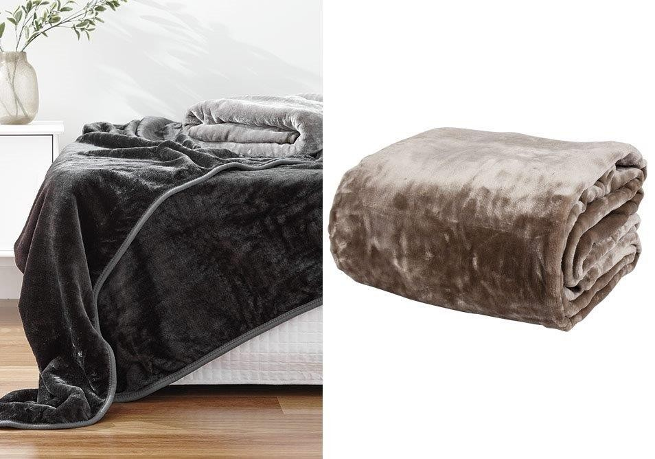 Taupe Classic Mink Blanket by Paxton & Wiggin