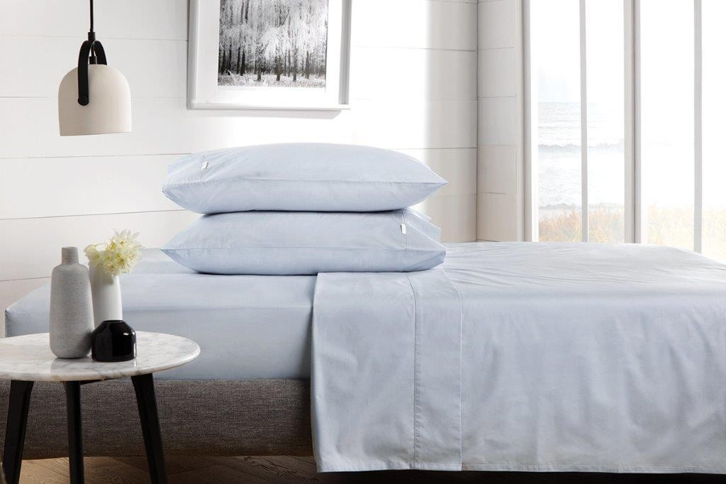 300 Thread Count Classic Percale Sheeting Range in Chloe Blue by Sheridan
