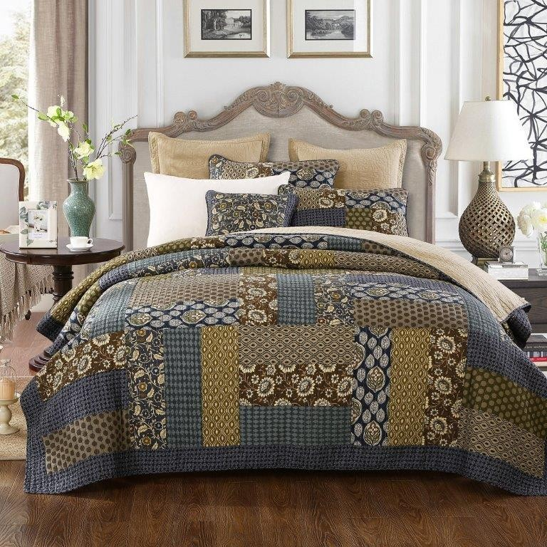 Country Blue Quilted Coverlet