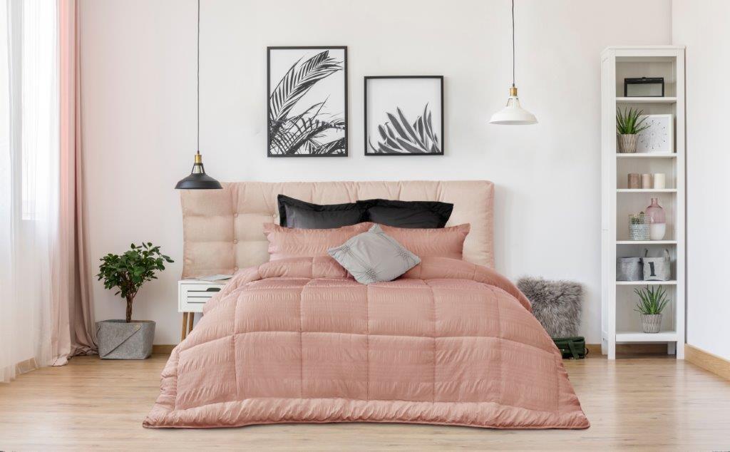 Ardor Boudoir Ella Seersucker Comforter Set Dusky Pink