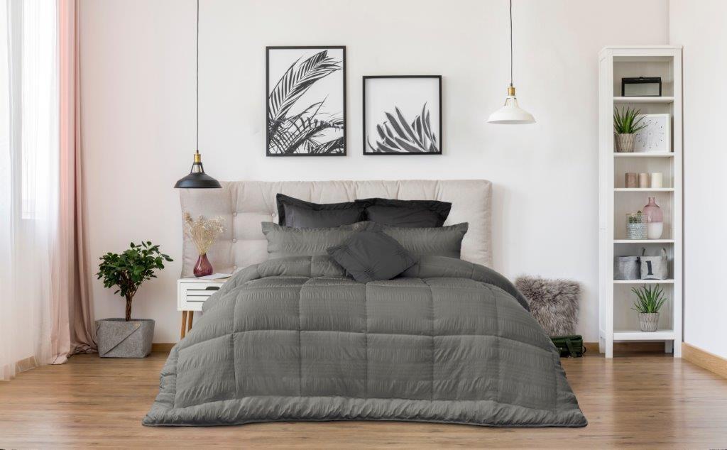 Ardor Boudoir Ella Seersucker Comforter Set Charcoal