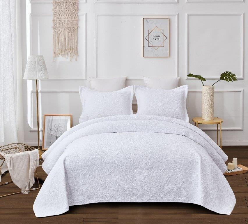 Embroidered Vivid White Quilted Coverlet