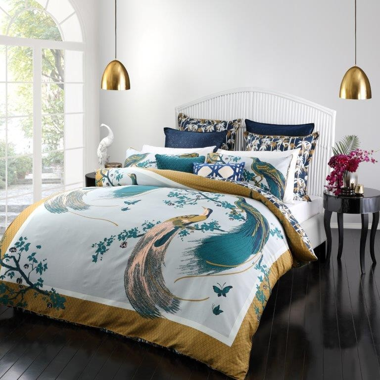 Exotic Birds Queen bed Quilt Cover Set by Florence Broadhurst