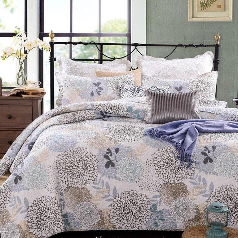 Floral Bloom Quilted Coverlet