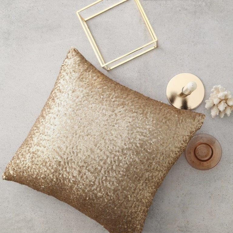 Glitter Gold Square Cushion by Logan & Mason
