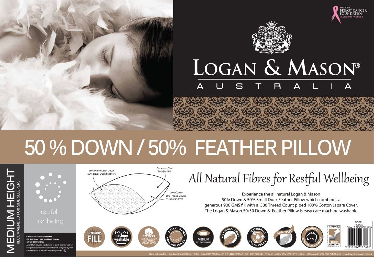 50% Down and 50% Feather Pillow by Logan & Mason