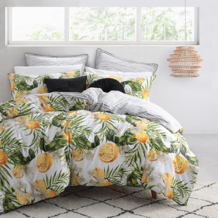 Lemony White Queen bed Quilt Cover Set by Logan & Mason