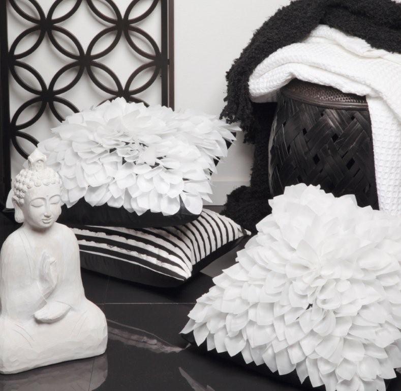 Lotus White Cushion by Logan & Mason