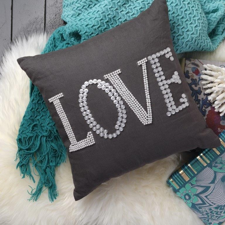 Love Charcoal Square Cushion by Logan & Mason