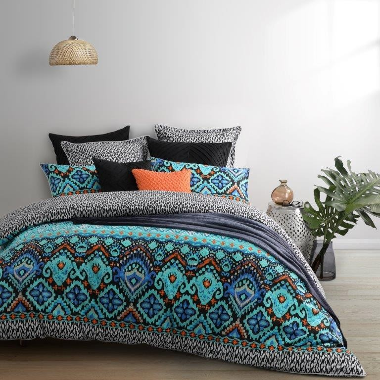 Nomad Teal King bed Quilt Cover Set by Logan & Mason