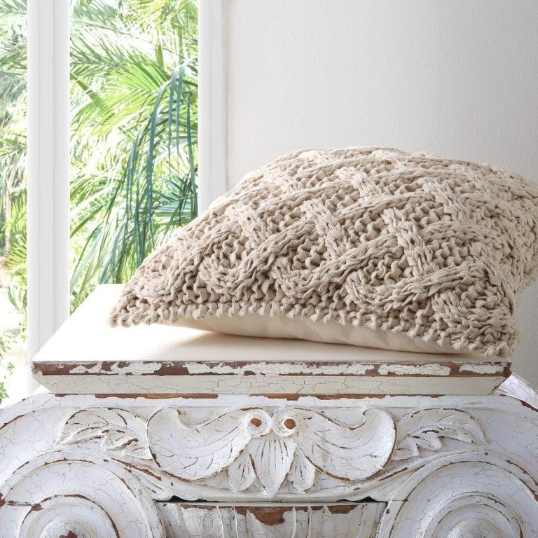 Panama Natural Square Cushion by Private Collection