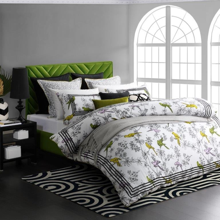 Parakeets Lime King bed Quilt Cover Set by Florence Broadhurst