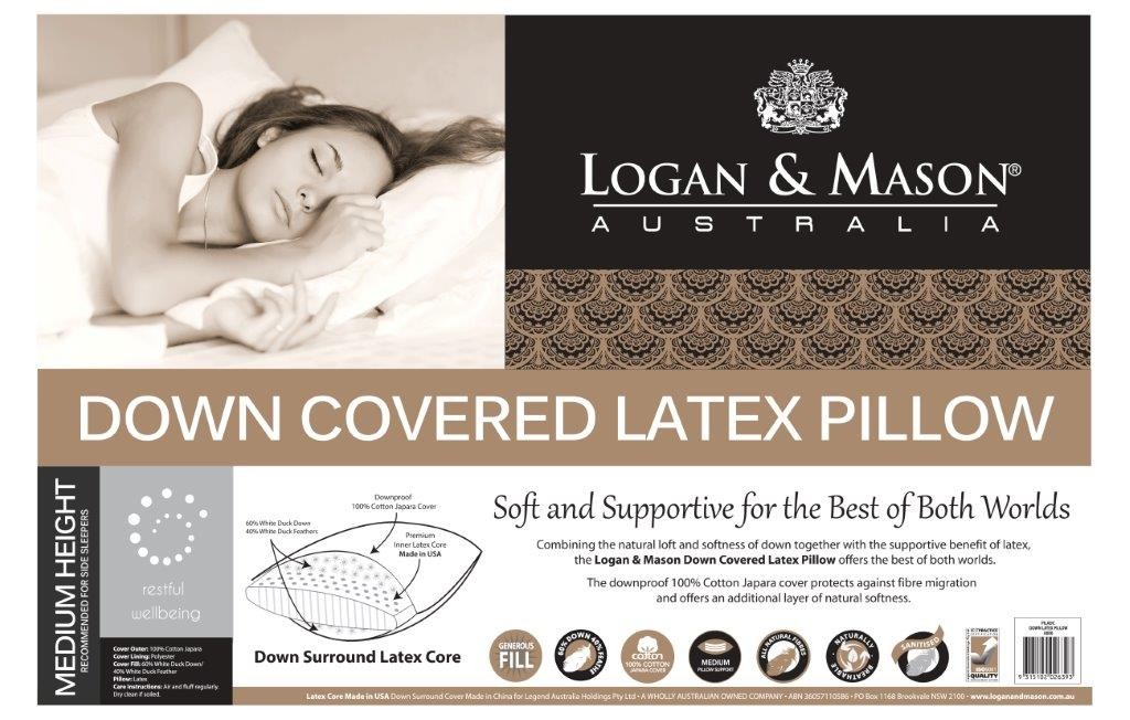 Down Covered Latex Pillow by Logan & Mason