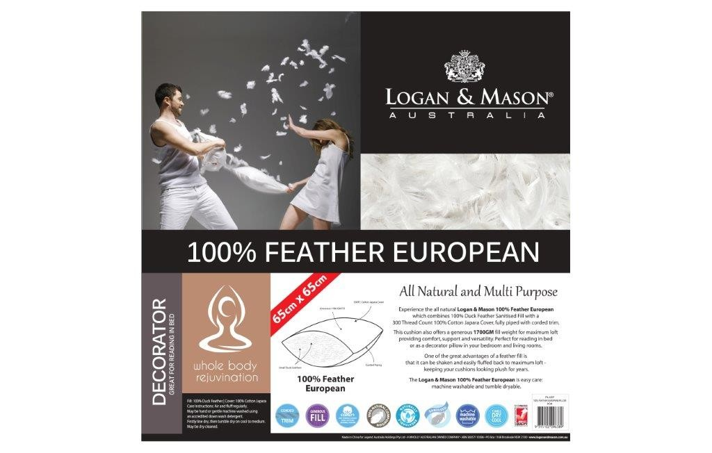 100% Feather European Pillow by Logan & Mason