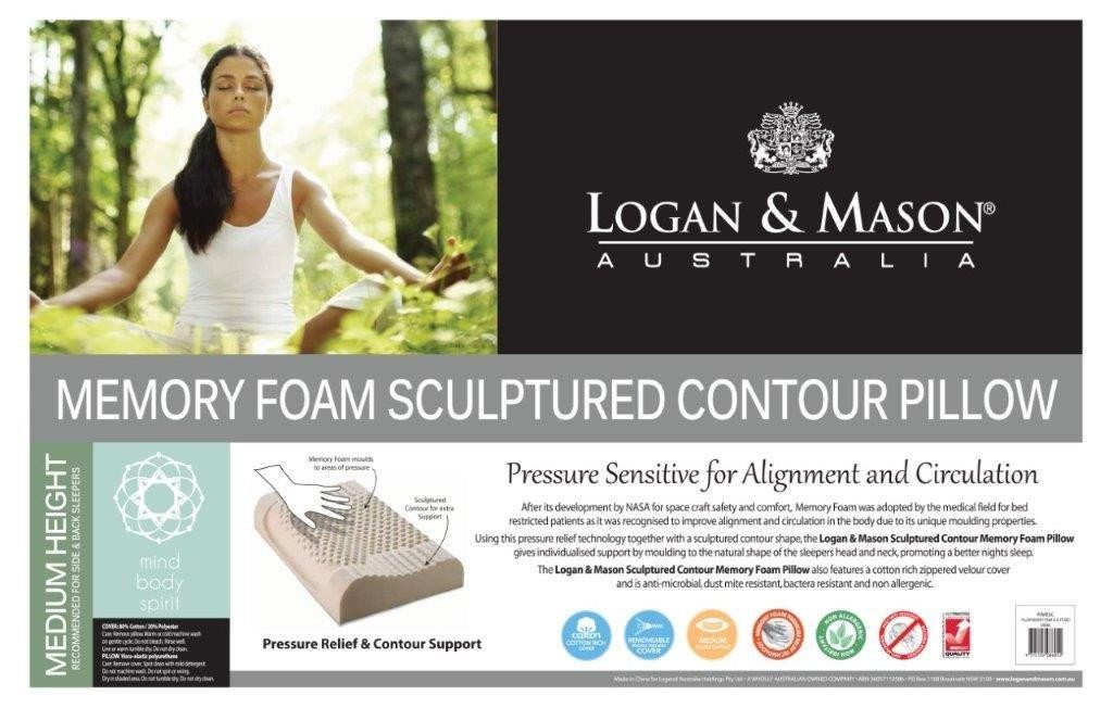 Memory Foam Sculptured Contour Pillow by Logan & Mason