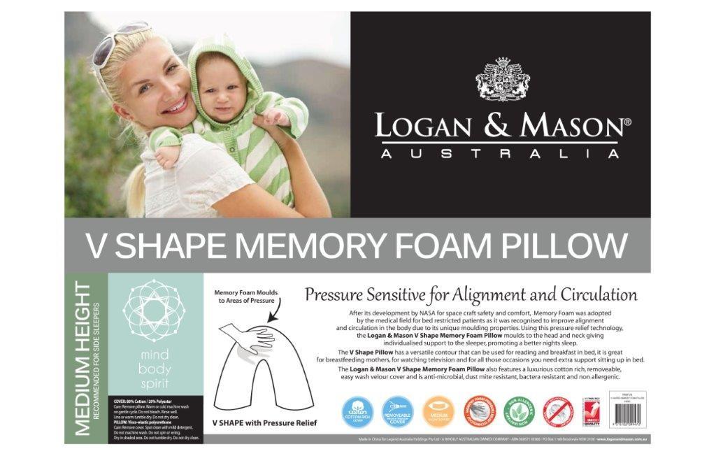 V Shape Memory Foam Pillow by Logan & Mason