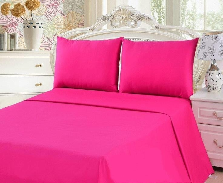 225 Thread Count Poly Cotton Sheet Sets Fuchsia - Breast cancer fundraising item
