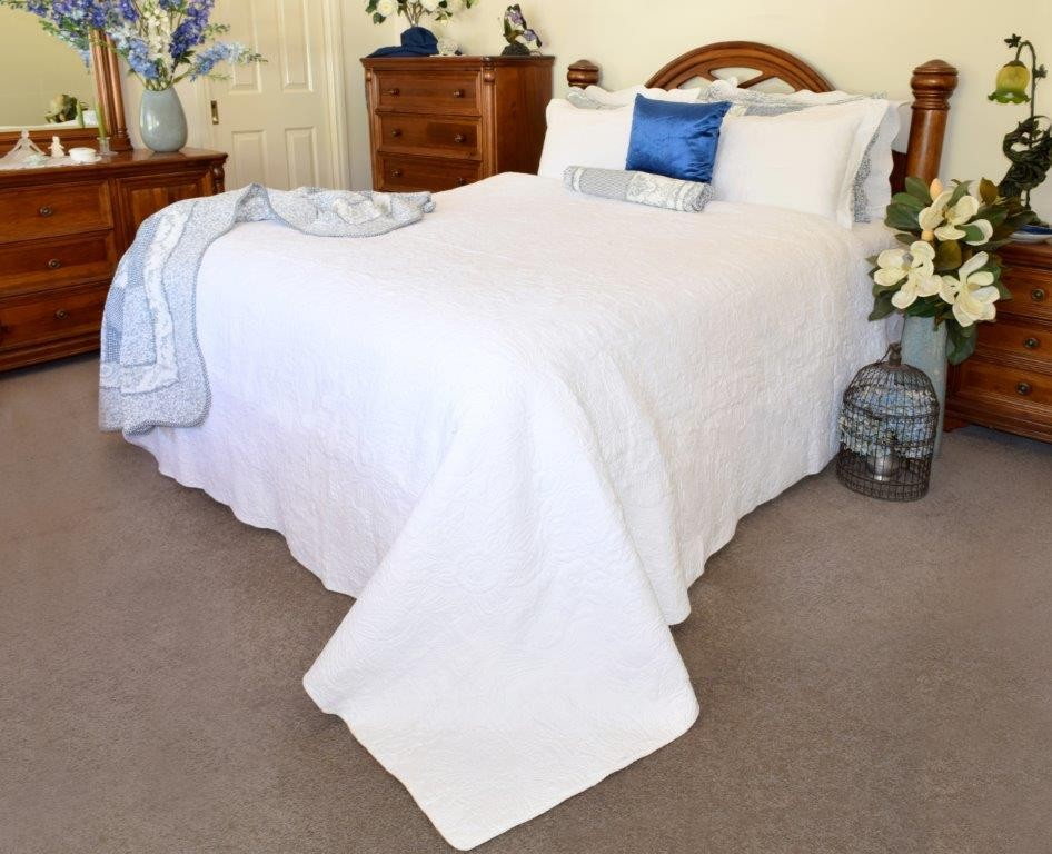 Pure White Quilted Coverlet