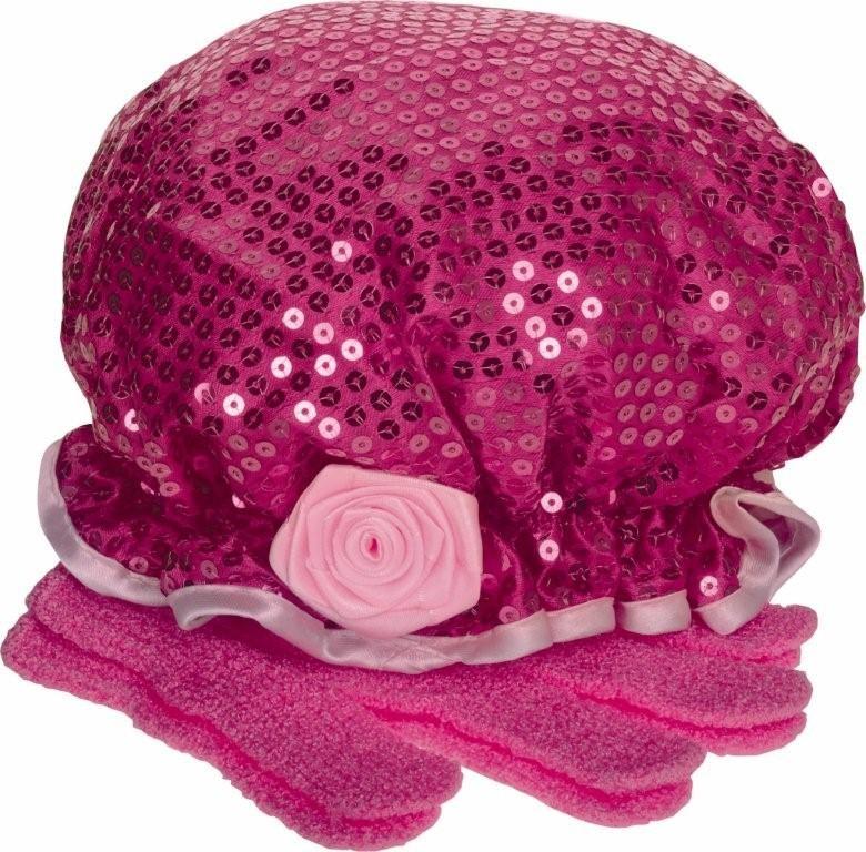 Cancer Fundraising Rose Shower Cap & Exfoliating Glove Set