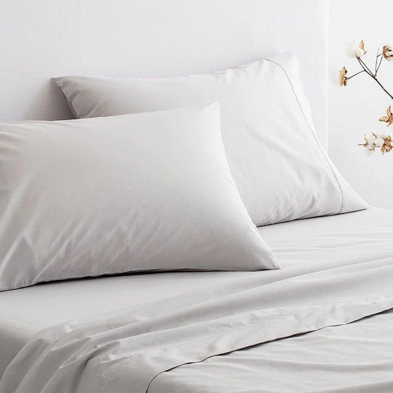 300 Thread Count Organic Cotton Percale Sheeting Range in Dove by Sheridan