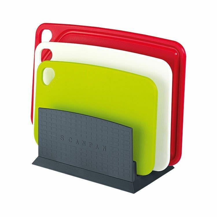 Scanpan Polypropylene 4 Piece Cutting Board Set W/Stand