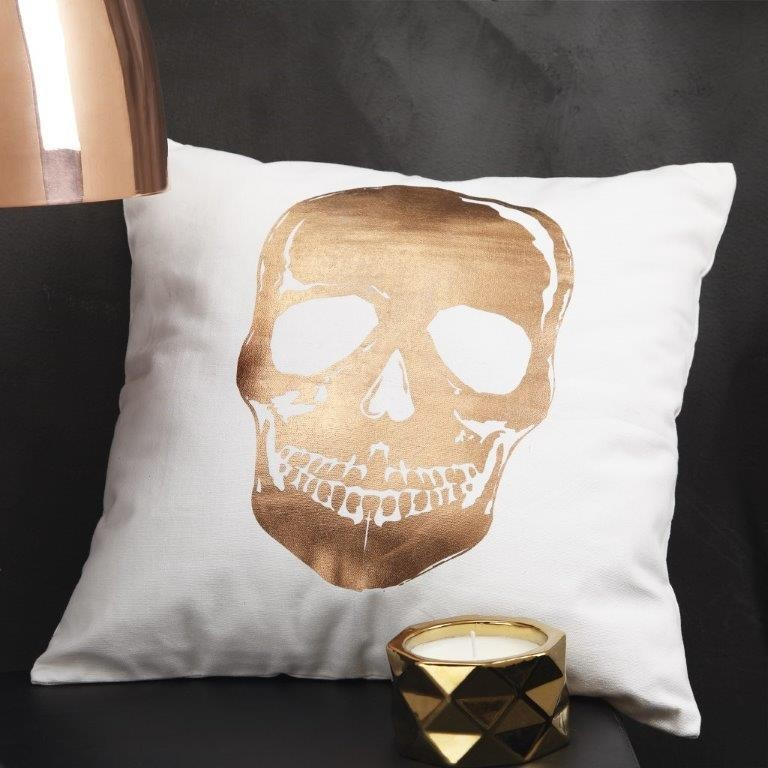 Skull Gold Square Cushion by Logan & Mason