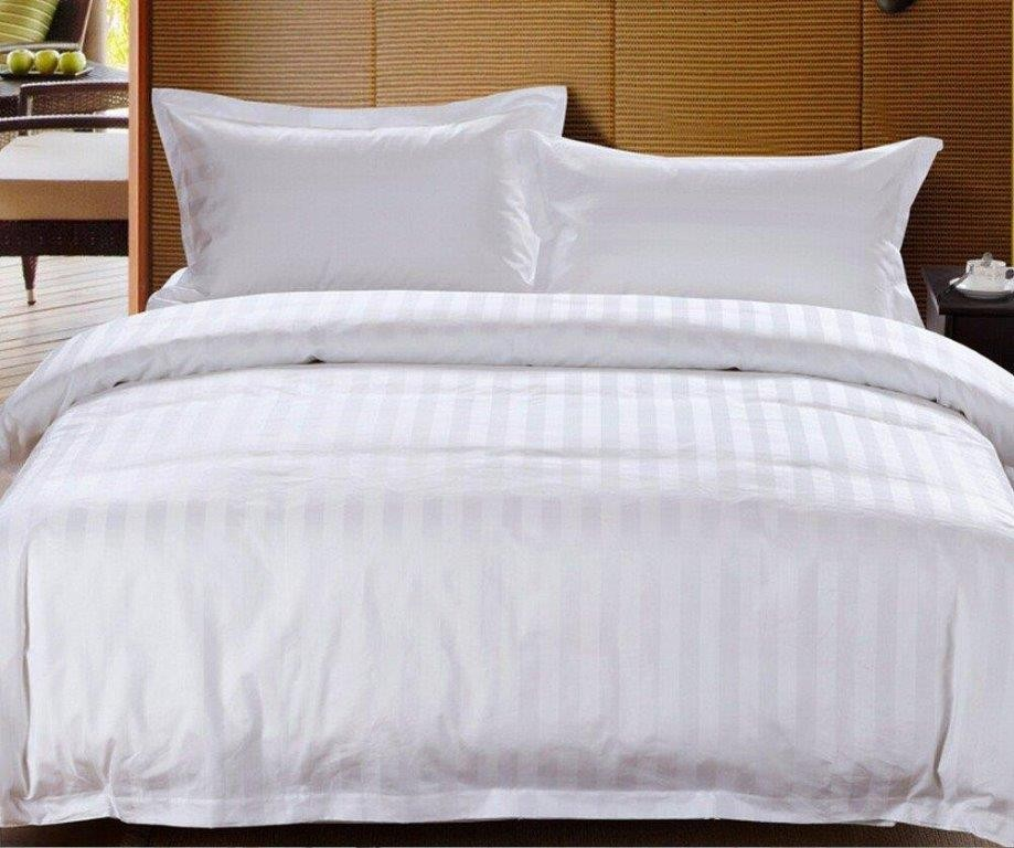 Chateau Satin Stripe Commercial Grade White Quilt Cover Set
