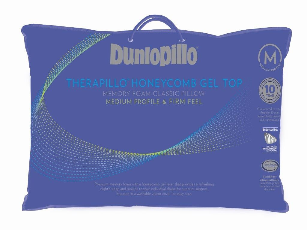 Dunlopillo Therapillo Medium Profile Memory Foam Honeycomb Gel Top Pillow by Sheridan